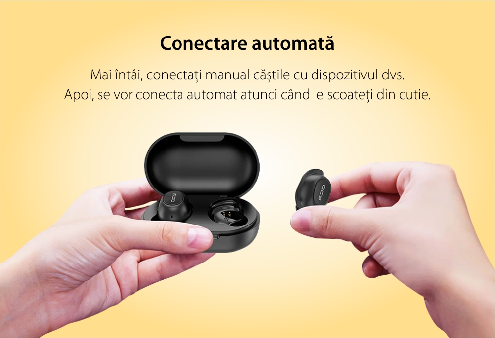 Casti in-Ear QCY T9S TWS, Negru, Wireless, Bluetooth 5.0, Baterie 380 mAh