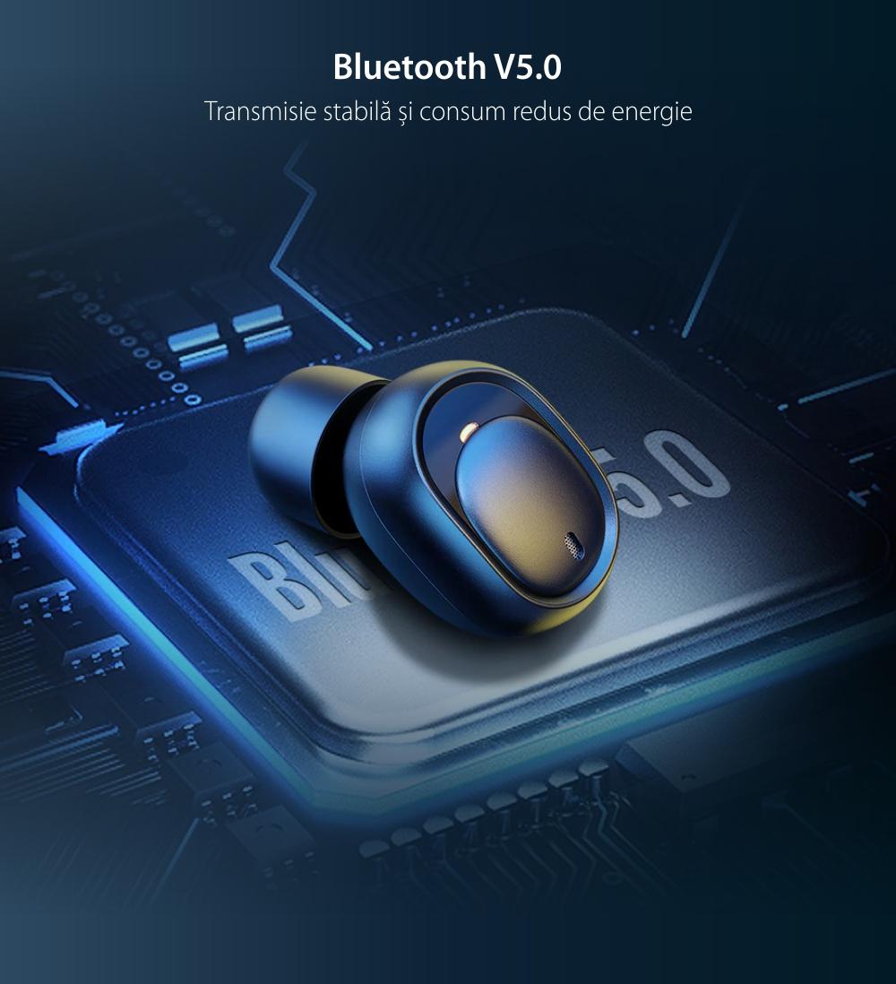 Casti in-Ear UGreen CM338, Negru, Wireless, Bluetooth, Baterie 480 mAh