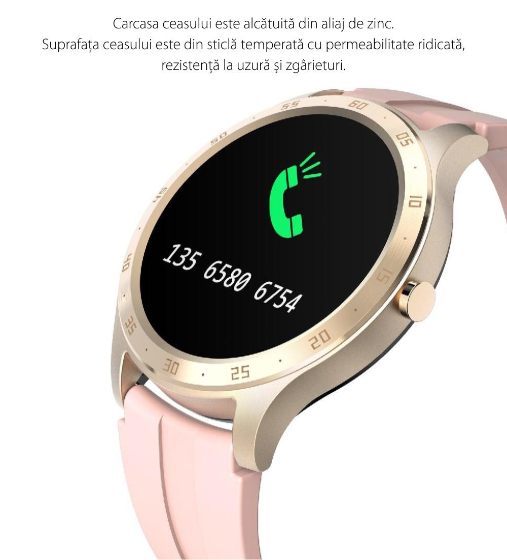 Ceas smartwatch Twinkler TKY-S20, Roz, Notificari, Pedometru, Moduri sportive, Cronometru