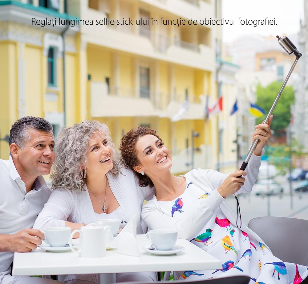 Selfie stick BlitzWolf BW-BS6, Negru, Pentru telefoane mobile, Extensibil, Bluetooth 3.0