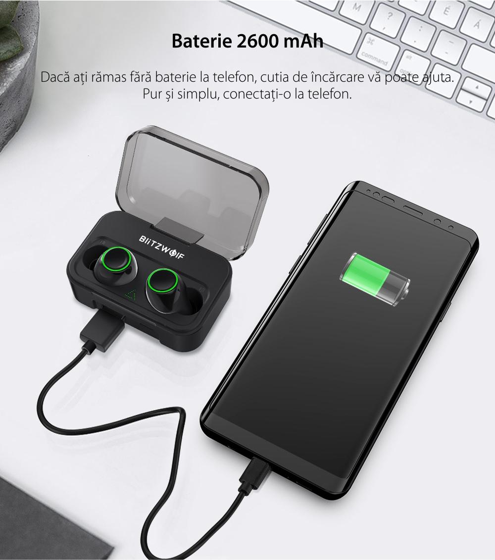 Casti in-Ear BlitzWolf BW-FYE3 TWS, Wireless, Bluetooth 5.0, Baterie 2600 mAh