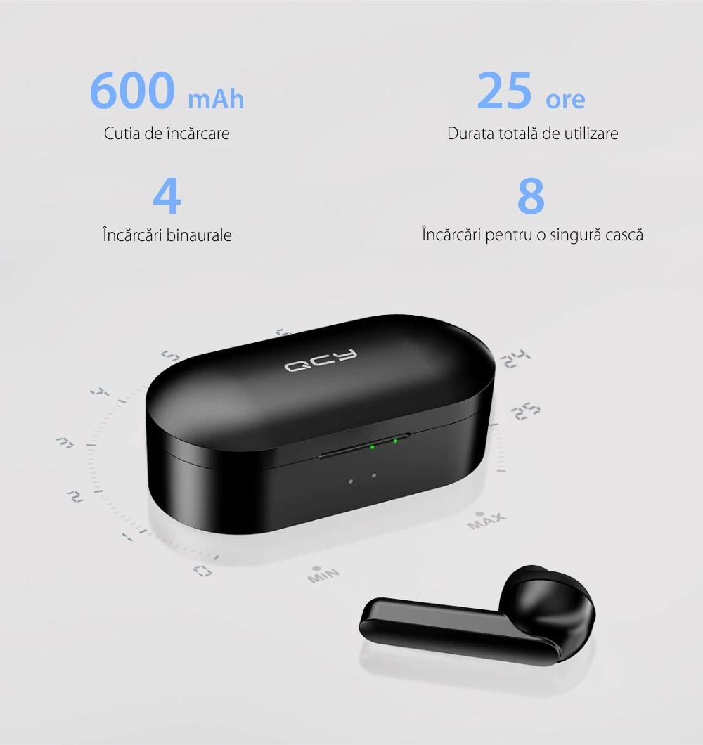 Casti in-Ear QCY T3 TWS, Negru, Wireless, Bluetooth 5.0, Baterie 600 mAh