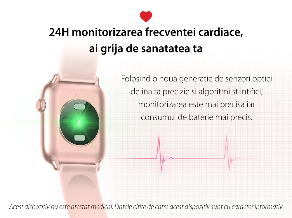 Ceas Smartwatch Twinkler TKY H30 KW37, Roz, Memento sedentar, Termometru, Monitorizarea somnului