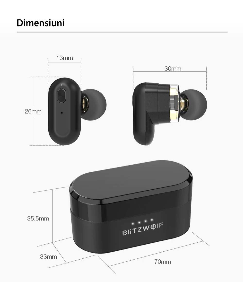 Casti in-Ear BlitzWolf BW-FYE7, Negru, Wireless, Bluetooth 5.0, Dual Dynamic Driver, Baterie 500 mAh