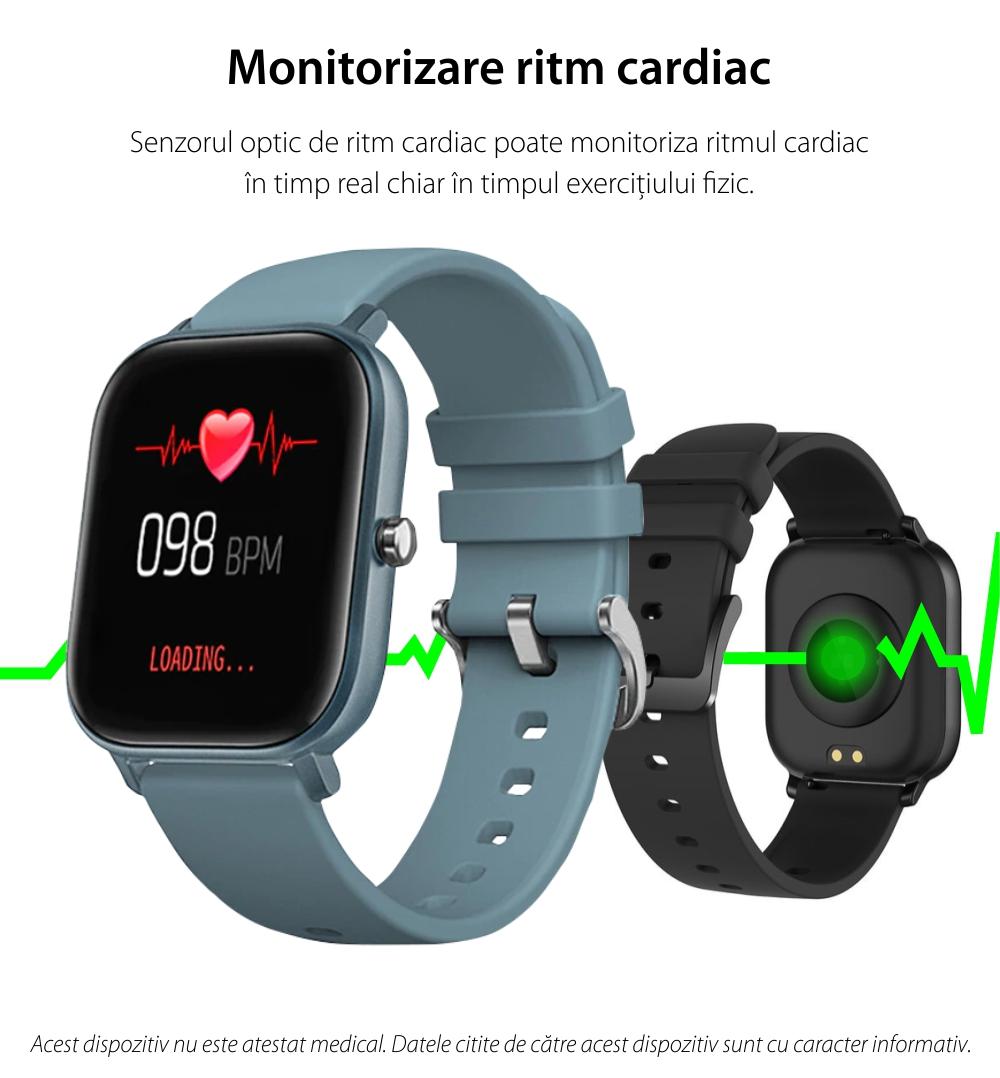 Ceas Smartwatch Twinkler TKY-P8, Auriu, Masurare ritm cardiac, Pedometru, Moduri sportive, Memento sedentar