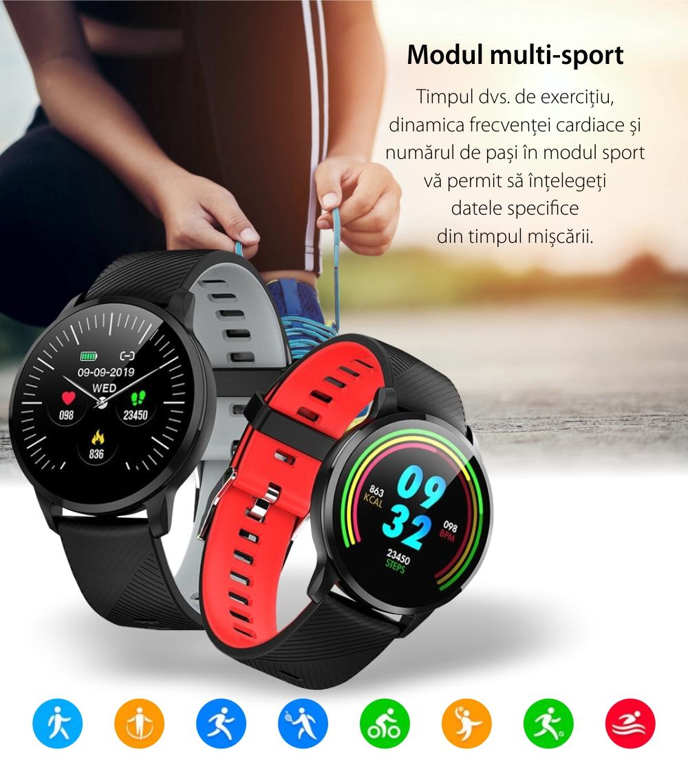 Ceas Smartwatch Twinkler TKY-S16, Rosu si Negru, Monitorizare ritm cardiac, Tensiune arteriala, Calorii, Distanta parcursa