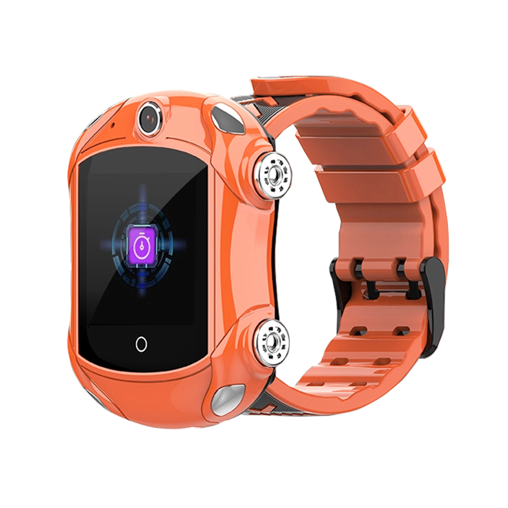 Ceas Smartwatch Pentru Copii, Wonlex KT14, Supercar, Portocaliu, SIM card, 4G, Rezistent la stropi accidentali IP54, Apel video imagine