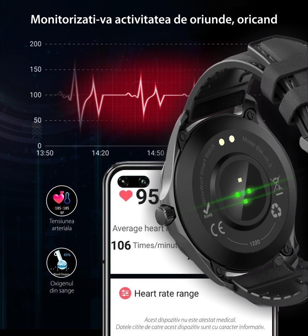Ceas smartwatch BlitzWolf BW-HL3, Negru, Pedometru, Distanta parcursa, Calorii arse, Monitorizare ritm cardiac