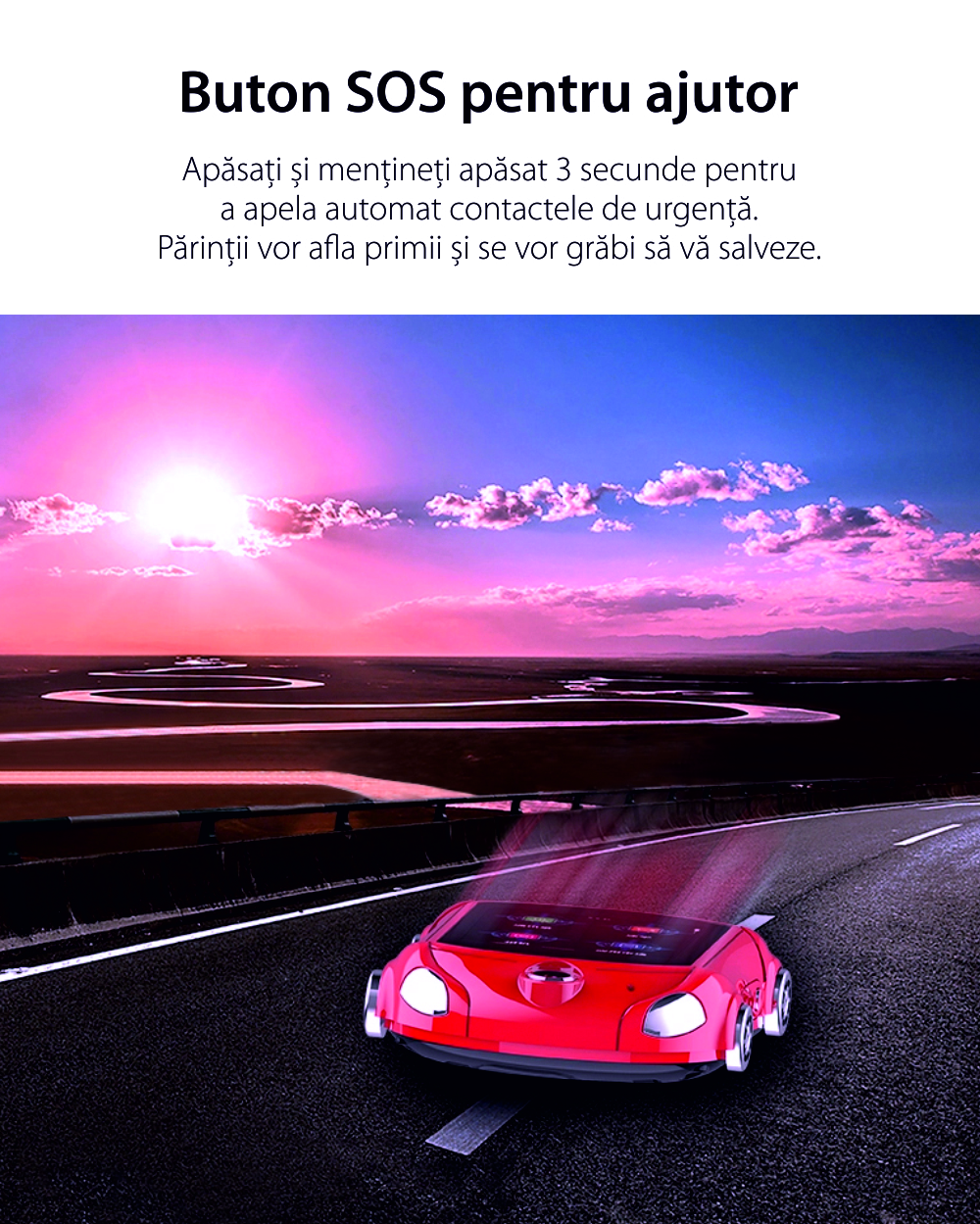 Ceas Smartwatch Pentru Copii, Wonlex KT14, Supercar, Rosu, SIM card, 4G, Rezistent la stropi accidentali IP54, Apel video
