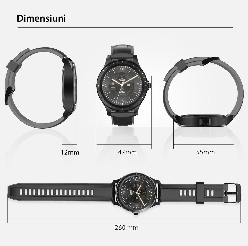 Ceas smartwatch BlitzWolf BW-HL2, Negru, Pedometru, Distanta, Calorii arse, 6 Moduri sportive, Sedentarism