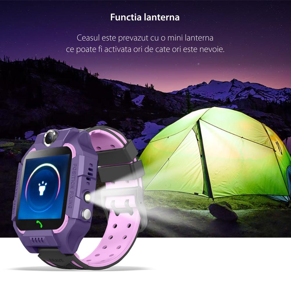 Ceas smartwatch Pentru Copii YQT-Q19W, Mov, Istoric traseu, Localizare GPS, Camera, Lanterna, Pedometru