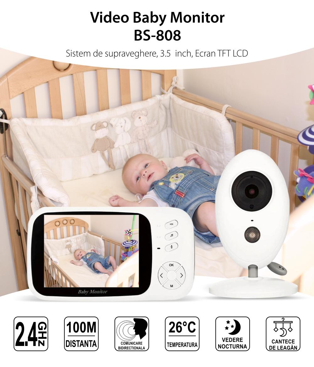 Baby Monitor BS-808, 3.5 inch, Comunicare bidirectionala, Temperatura, Vedere nocturna, Cantece de leagan