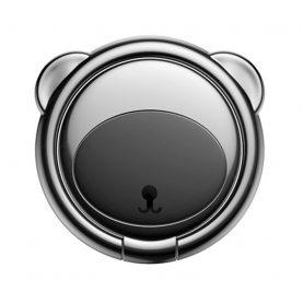 Suport pentru telefon Baseus Ring Bear, Negru, Grosime 3 mm, Rotire in doua directii