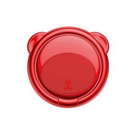 Suport pentru telefon Baseus Ring Bear, Rosu, Grosime 3 mm, Rotire in doua directii