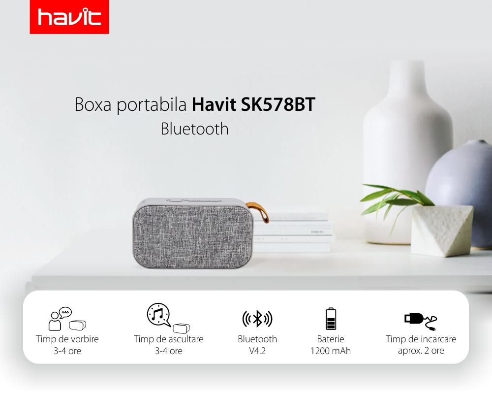 Boxa portabila Havit SK578BT, Gri, 6W, Bluetooth 4.2, Baterie 1200 mAh, 72 dB, USB, Radio