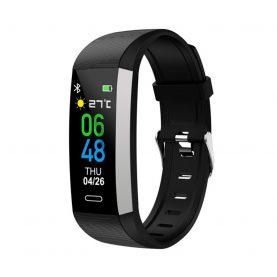 Bratara fitness TKY-S03, Negru, Monitorizare ritm cardiac, Tensiune arteriala, Nivel Oxigen, Pedometru, Notificari