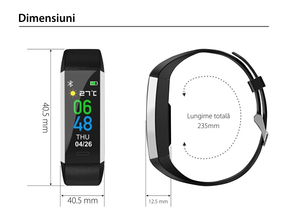 Bratara fitness TKY-S03, Albastru, Monitorizare ritm cardiac, Tensiune arteriala, Nivel Oxigen, Pedometru, Notificari