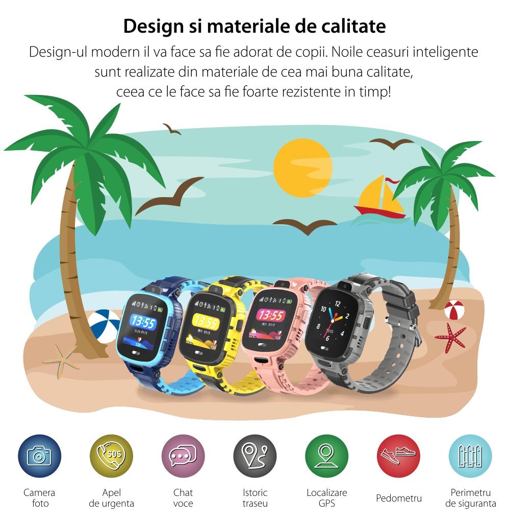 Ceas SmartWatch Pentru Copii Motto TD26, Negru cu Localizare GPS, Waterproof, Apel de urgenta, Chat / voce, Istoric traseu, Pedometru