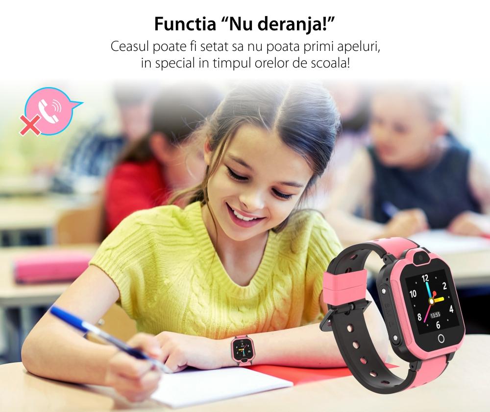 Ceas SmartWatch Pentru Copii Motto LT05, Roz cu Localizare GPS, Buton SOS, Apel video, Mesaje vocale si text, Camera foto