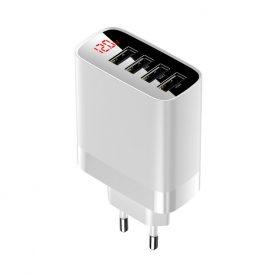 Incarcator retea Baseus Mirror Lake Travel, Alb, 4 Iesiri USB, Max. 30 W, Dispaly LED