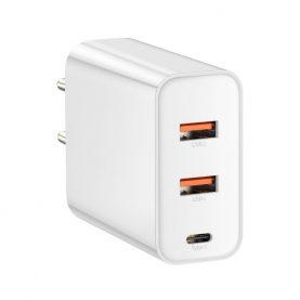 Incarcator universal Baseus, Alb, Quick Charge, 2 Porturi USB, 1 Port Type-C, Putere max. 60 W