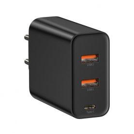Incarcator universal Baseus, Negru, Quick Charge, 2 Porturi USB, 1 Port Type-C, Putere max. 60 W