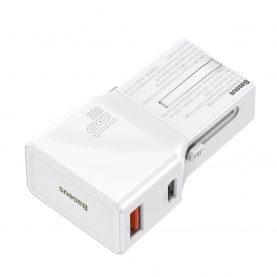 Incarcator universal Baseus, Alb, Port USB / USB-C, Quick Charge 3.0, 18 W