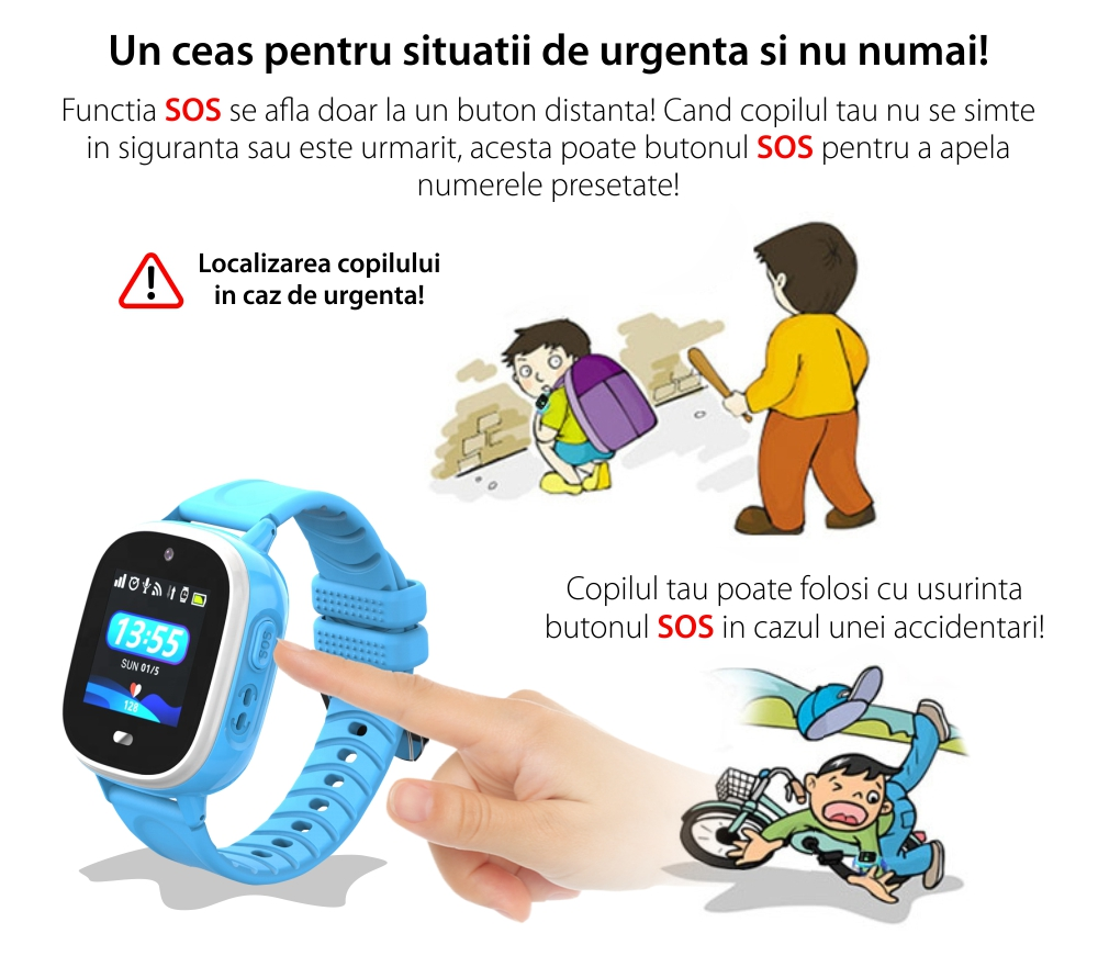 Ceas SmartWatch Pentru Copii Motto TD31, Roz cu Localizare GPS, Alarma, Telefon, Chat / voce, Geofence, Pedometru