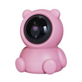 Video Baby Monitor Bear AB88, Roz, Detectare miscare, Monitorizare 360°, Vedere nocturna, Comunicare bidirectionala, Slot microSD