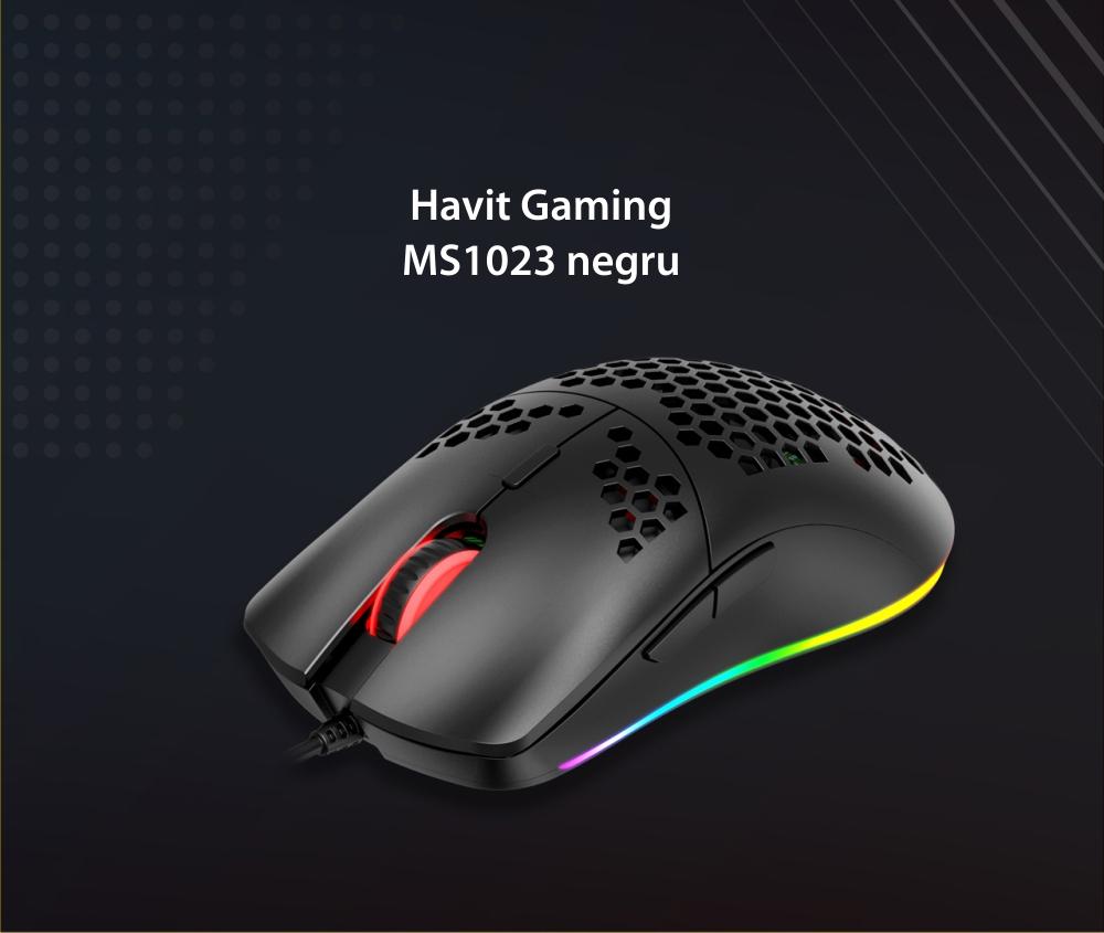 Mouse Gaming Havit MS1023, Conexiune USB, 6400 DPI, 7 Butoane, Cablu 1.7 m