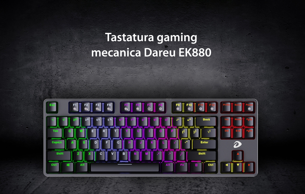 Tastatura Gaming Dareu EK880, Iluminare RGB, Conexiune USB, Lungime cablu 1.8 m
