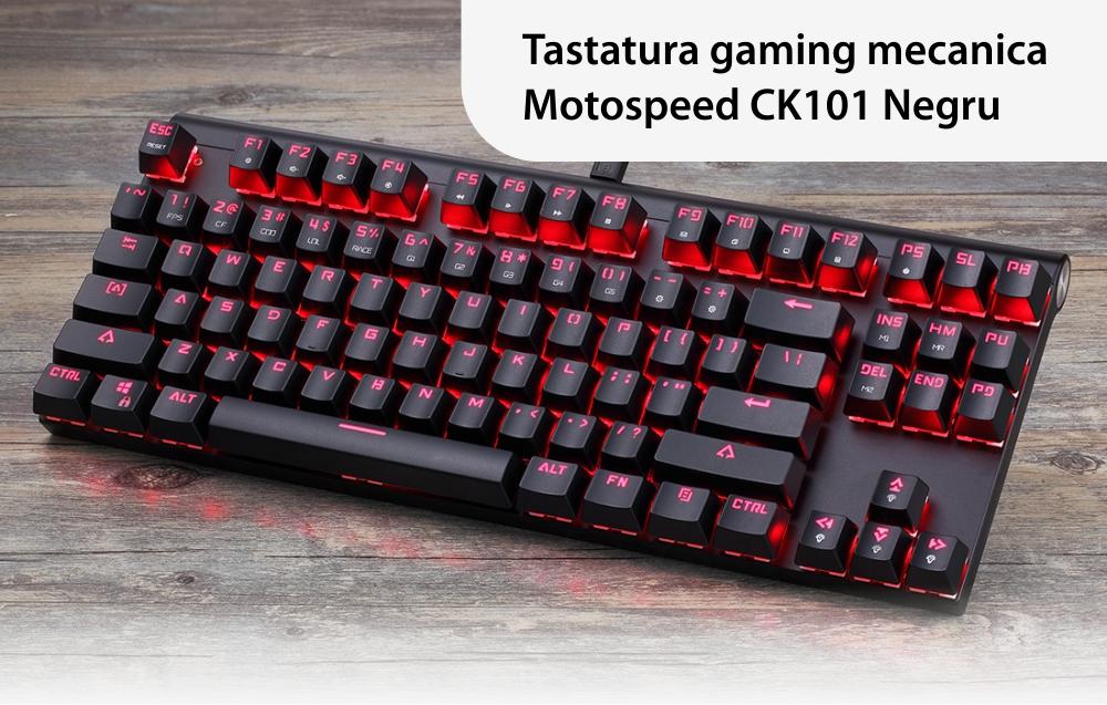 Tastatura Gaming Motospeed CK101, Iluminare RGB, Conexiune USB, Lungime cablu 1.5 m