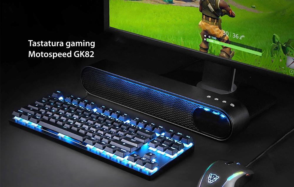Tastatura Gaming Motospeed GK82, Conexiune USB / Wireless, Iluminare LED, Acumulator 1300 mAh