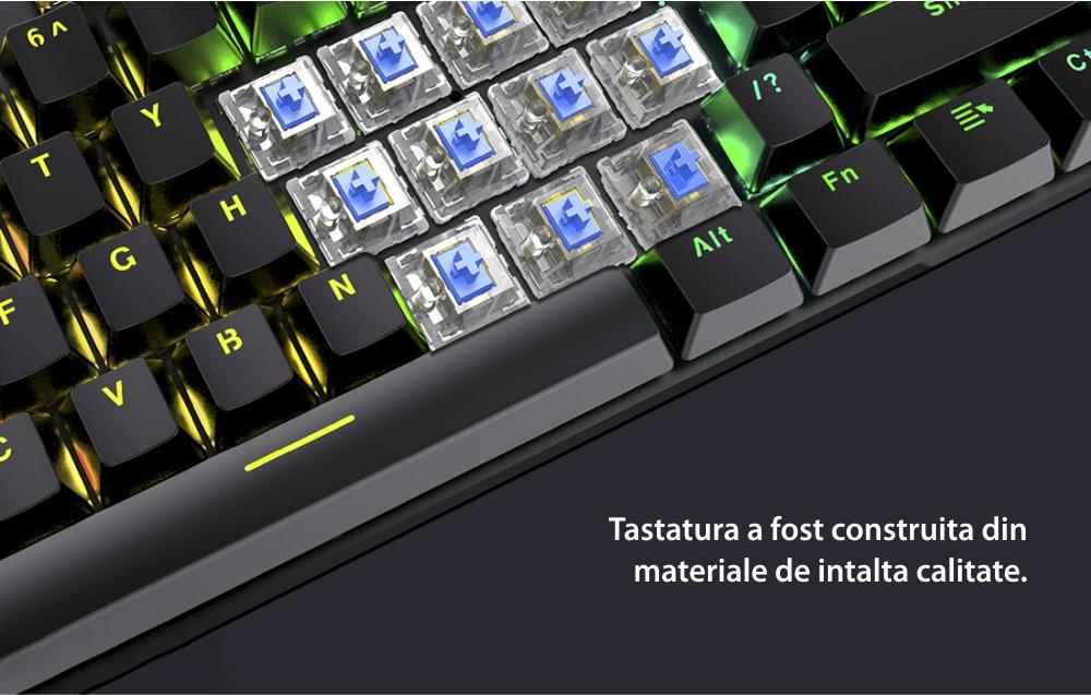 Tastatura Gaming Havit Gamenote KB858L, Iluminare RGB, Conexiune USB, Lungime cablu 1.65 m