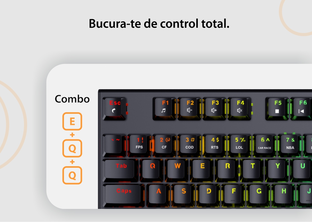 Tastatura gaming mecanica Havit KB857L, Conexiune USB, Cablu 1.5 m, Iluminare RGB