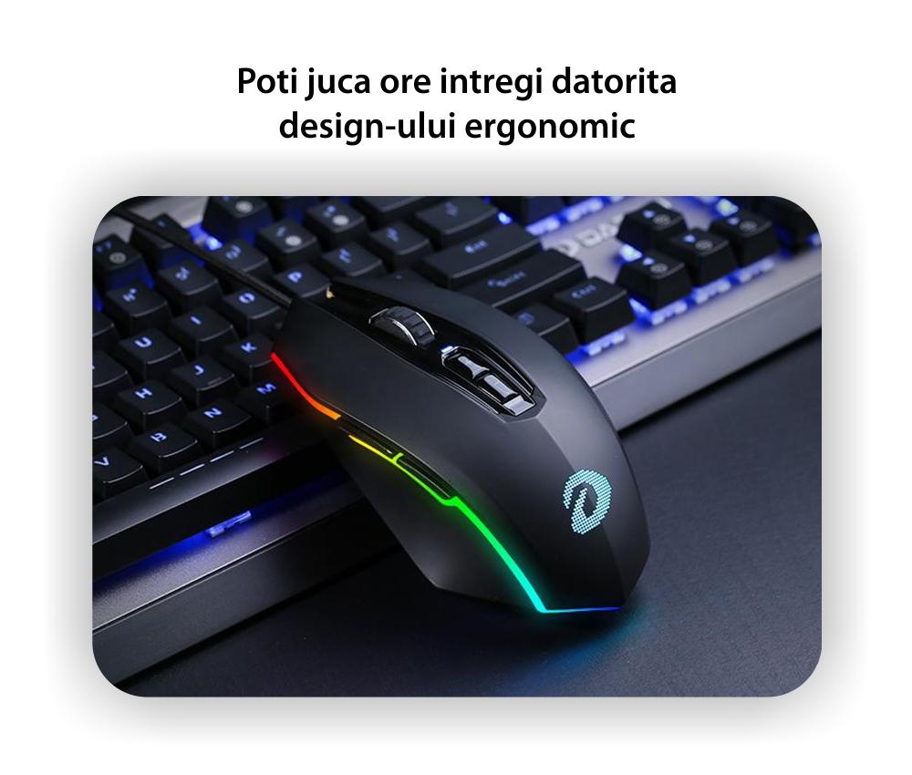 Mouse Gaming Dareu EM925 Pro, Sensibilitate 12000 DPI, Conexiune USB, Cablu 1.8 m