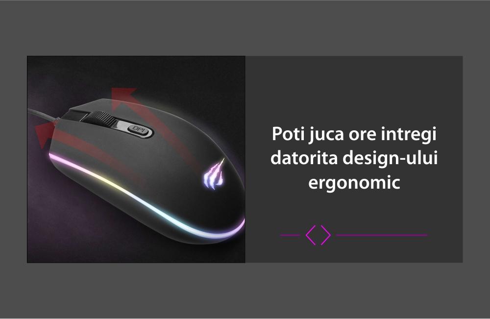 Mouse Gaming Havit Gamenote MS1003, Iluminare RGB, Conexiune USB, 1200 DPI, Cablu 1.6 m