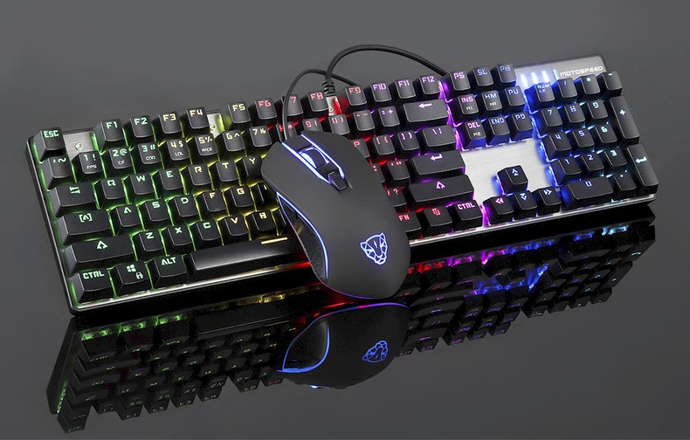 Kit tastatura si mouse gaming Motospeed CK888, Conexiune USB, Iluminare RGB, Cablu 1.7 m