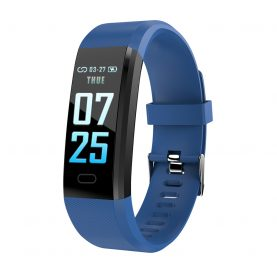 Bratara fitness inteligenta XK Fitness Active 15 Pro, Albastru cu Functii monitorizare sanatate, Memento sedentar, Calorii arse, Pedometru, Notificari apel / SMS