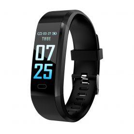 Bratara fitness inteligenta XK Fitness Active 15 Pro, Negru cu Functii monitorizare sanatate, Memento sedentar, Calorii arse, Pedometru, Notificari apel / SMS