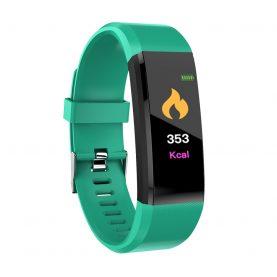 Bratara fitness inteligenta XK Fitness Active 15 Pro, Verde cu Functii monitorizare sanatate, Memento sedentar, Calorii arse, Pedometru, Notificari apel / SMS