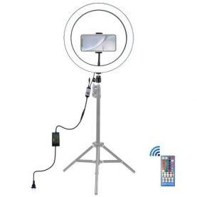Lampa LED Puluz PU411EU, Forma cerc, Iluminare RGB, Putere 30 W